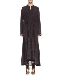 Chloe Cherry Print Long Sleeve Maxi Dress Black Red Black Red