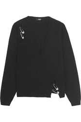 Versus By Versace Embellished Stretch Knit Sweater Black