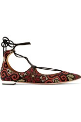 Aquazzura Christy Embroidered Suede Point Toe Flats Black