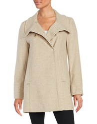 Larry Levine Textured Double Breasted Coat Oatmeal