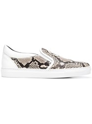 Roberto Cavalli Snake Print Slip On Sneakers Nude And Neutrals