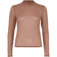 River Island Womens Dark Beige Sheer Mesh Turtle Neck Top