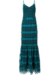 Zac Posen Sandra Crochet Gown Green