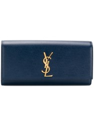 Saint Laurent Kate Monogram Clutch Blue