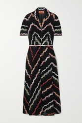 Missoni Crochet Knit Cotton Blend Midi Dress Black