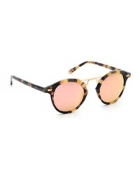 Krewe St. Louis Round Mirrored Sunglasses Rose Brown Tortoise