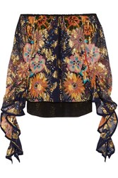 Chloe Exclusive Off The Shoulder Floral Print Fil Coupe Silk Blouse Navy