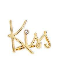Lanvin Two Finger Golden Kiss Ring