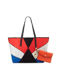 Cynthia Rowley Hayden Colorblock Scuba Leather Tote Bag Black Multi