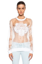 Kenzo Solid Embroidered Organza Tiger Sweatshirt In White