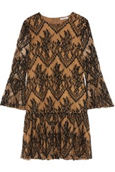 Ganni Ruffled Embroidered Lace Mini Dress Brown