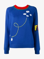 Mira Mikati Rocket Intarsia Merino Wool Jumper Blue Multi Coloured Green Navy
