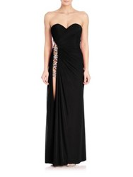 La Femme Strapless Jeweled Cutout Gown Black