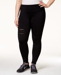 Jessica Simpson The Warm Up Plus Size Mesh Panel Leggings Jet Black
