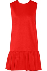 Msgm Wrap Effect Ponte Dress Red