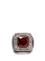 Gucci Crystal Encrusted Gg Logo Signet Ring Red