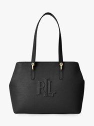 Ralph Lauren Trapunto Leather Tote Bag Black