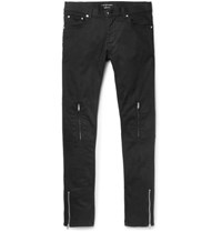 Alexander Mcqueen Slim Fit Leather Trimmed Stretch Denim Jeans Black