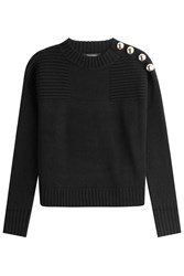 Tara Jarmon Wool Pullover With Metal Buttons Black