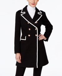 Inc International Concepts Petite Piped Double Breasted Coat Only At Macy's Deep Black