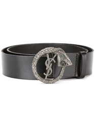 Saint Laurent Monogram Serpent Buckle Belt Black