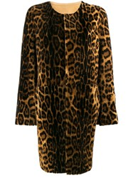 Yves Salomon Leopard Print Shearling Coat Brown