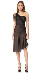 J. Mendel One Shoulder Asymmetrical Dress Noir