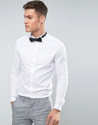 Asos Skinny Fit Sateen Shirt With Double Cuff And Wing Collar White