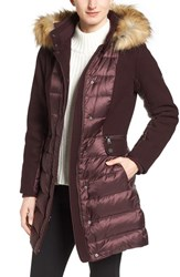 1 Madison Women's Mixed Media Faux Fur Trim Hooded Down Coat Pinot