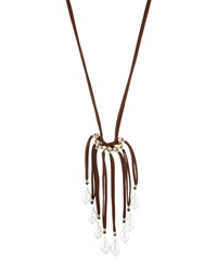Nakamol Leather And Pearl Multi Strand Tassel Necklace