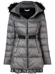 Patrizia Pepe Belted Puffer Coat Nude And Neutrals