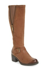 Bussola Women's 'Treviso' Knee High Block Heel Boot Taupe Leather