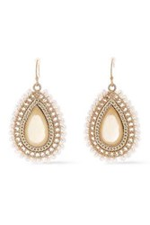 Kenneth Jay Lane Woman Gold Plated Faux Pearl And Resin Earrings Gold