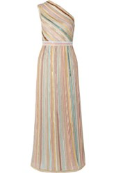 Missoni One Shoulder Sequined Striped Metallic Crochet Knit Gown Off White