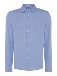 Linea Bantam Long Sleeve Micro Gingham Shirt Blue