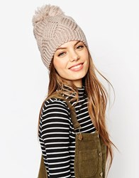 Asos Triangle Cable Wool Mix Beanie With Oversized Pom Mink