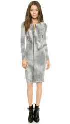 5Th And Mercer Long Sleeve Houndstooth Dress Black White Check