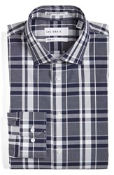 Calibrate Men's Big And Tall Trim Fit Non Iron Stretch Plaid Dress Shirt Navy Peacoat