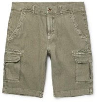 Loro Piana Stretch Linen And Cotton Blend Cargo Shorts Army Green