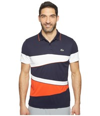 Lacoste T2 Engineered Color Block Ultra Dry Polo Navy Blue White Etna Red White Etna Red Men's Short Sleeve Pullover Multi