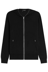 The Kooples Silk Cotton Zipped Cardigan Black