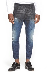 Dsquared Skater Fit Double Waist Paint Splatter Jeans Black