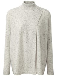 Pure Collection Cashmere Wrap Front Poncho Heather Grey Fleck
