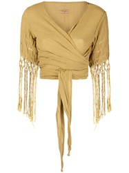 Caravana Wrap Top With Fringe Sleeves Yellow And Orange