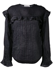 Chloe Ruffle Striped Top Women Cotton Ramie 36 Black