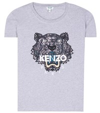 Kenzo Embroidered Cotton T Shirt Grey