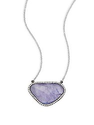 Meira T Tanzanite Diamond And 14K White Gold Plated Necklace