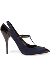 Oscar De La Renta Fedra Patent Leather Trimmed Suede Pumps Blue