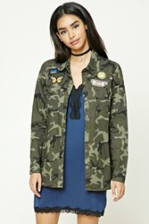 Forever 21 Patch Graphic Camo Shirt Olive