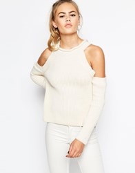 Daisy Street Halter Neck Knit Rib Top With Cold Shoulder Cream